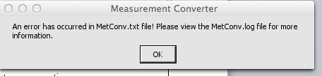MetConv error message